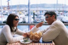 Couple Sharing Bread in Seaside Restaurant