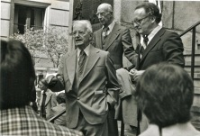 Reformed apologist and churchman Cornelius van Til preaching on the street