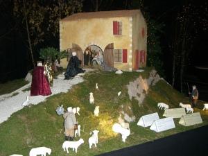 Een van de meerdere kerststallen tijdens een kerstuitstalling in de Basiliek van Koekelberg, Brussel