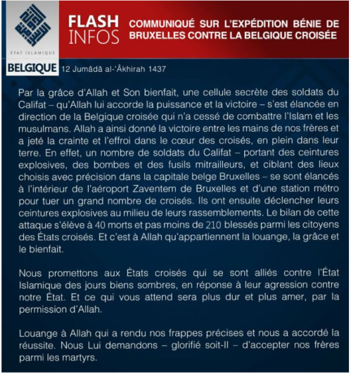 Daesh Press Communication 2016 03 22 concerning attacks on Brussels