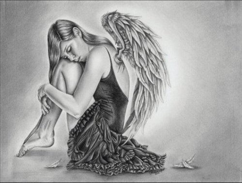 pencil-drawings-of-the-fallen-angel